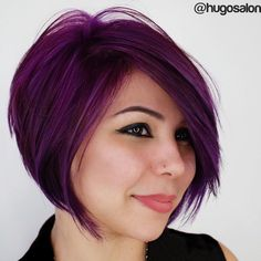 Layered+Chin-Length+Purple+Bob