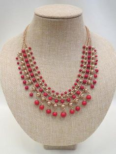 ADO Red Beads & Gold Chain Necklace All Dec'd Out