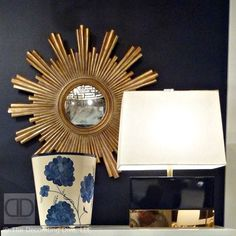 Worlds Away's elegant dark navy and gold accented rectangle table lamp's base was stylishly reminiscent of the many captivating couture clutches seen about during Fashion Week.  Worlds Away Ceramic & Metal Navy and Gold Table Lamp | The Decorating Diva, LLC   #HPMKT