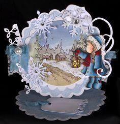Magnolia 'Tilda with Lantern' Handmade Christmas Easel Card (Boxed)