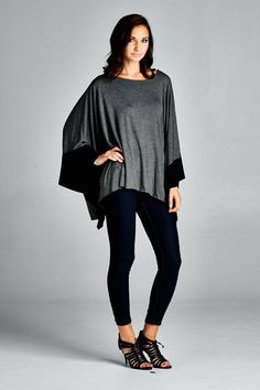 Color Block Kimono Top - Charcoal/Black - Knitted Belle Boutique