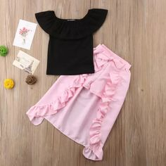 Black Top, with Bowknot Long-short Skirt Dresses Kids Girl, Kids Outfits Girls, Girl Outfits, Cute Outfits, Baby Girl Fashion, Kids Fashion, Mode Kawaii, Kids Frocks, Moda Vintage