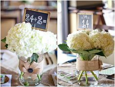 Math equation for the table numbers! So cute and creative! Would be beautiful in small siver frames instead of rustic ones. Country Wedding Decorations, Rustic Wedding Signs, Rustic Wedding Centerpieces, Reception Decorations, Rustic Weddings, Wedding Ideas, Hydrangea Centerpieces, Wedding Reception, Wedding Inspiration
