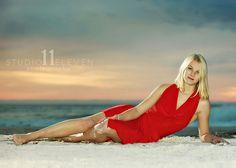 senior portrait at the beach