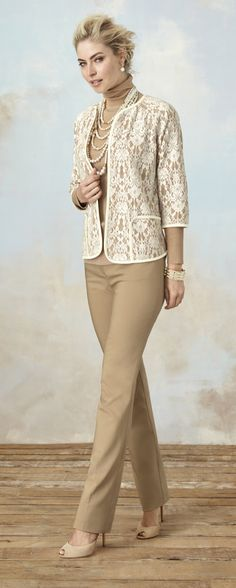 The newest way to wear lace? This elegant cardigan. Faux-leather trim gives it extra polish.