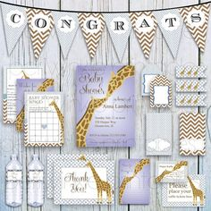 INSTANT DOWNLOAD Printable Baby Shower Set Baby Shower Kit, DIY party decorations, giraffe baby shower for boy, custom, personalized package, $25.00