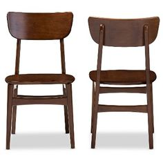 Netherlands Mid-century Modern Scandinavian Style Dark Walnut Bent Wood Dining Side Chairs (Set of 2) - Baxton Studio, Brown