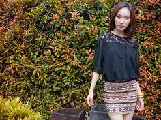 Noir Lace Crochet Blouson in Black
