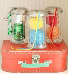 Sugar Shaker doubles as Creative Yarn Holder.From The Yarn Box-- Cute, but this would have to be for a home only project--glass in knitting bag bad. Yarn Storage, Craft Storage, Ribbon Storage, Storage Ideas, Box Storage, Yarn Crafts, Sewing Crafts, Diy Crafts, Knitting Projects
