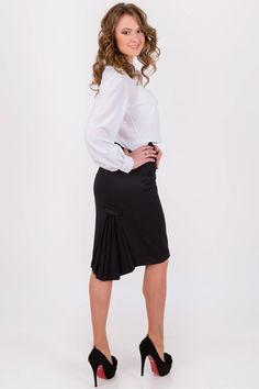 Black pencil knee length office straight skirt for women pleated classic skirt High waisted skirt Pleated Skirt, High Waisted Skirt, Pencil Skirt Outfits, Classic Skirts, Straight Skirt, Black Pencil, Casual Skirts, Business Attire, Stylish Dresses