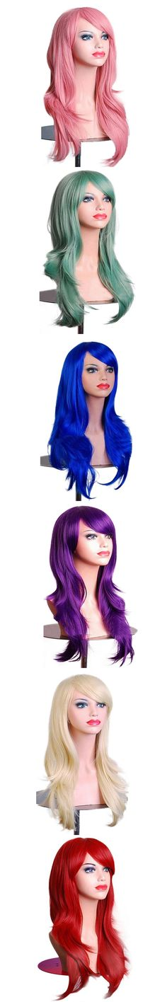 AOSIWIG Long Wavy Synthetic Wigs For Black Women Pink Purple Cosplay Wig Heat Resistant Fake Hair Wig Pieces 11 Colors Red Pink
