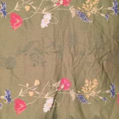 Floral Jacquard Print Sage Green with Pink by CarolinaThriftChick $14.99