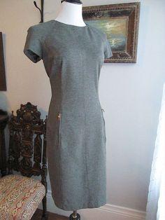 RALPH LAUREN Solid Gray Rayon Blend Cap Sleeves Sheath Dress Size 8 #RalphLauren #Sheath #WeartoWork