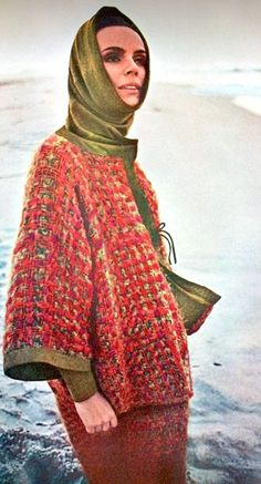 Tweed and suede trimmed jacket and skirt by Bonnie Cashin, Vogue 1964
