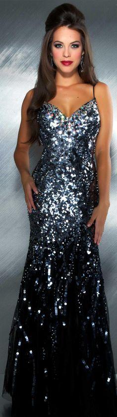 Mac Duggal couture dress black / gunmetal #long #dress #glitter MAC DUGGAL PROM STYLE 85094M
