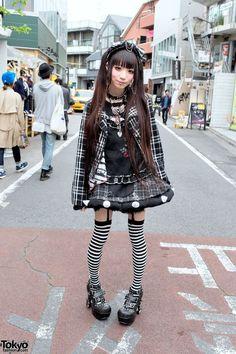 Plaid h.NAOTO Fashion, Striped Socks, Studded Heels  Piercings in Harajuku