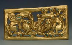 Gold and turquoise belt buckle. Siberia. Early Iron Age. 3rd century B.C. | The…