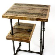 'Galvy' Industrial Side Tables // Reclaimed Wood Nightstands by Aaron Van Holland
