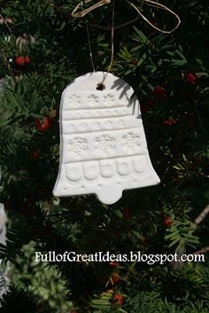Cornstarch and baking soda ornaments.  I love how clean and white they are!