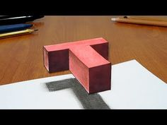 Try to do 3D Trick Art on Paper, floating letter T - YouTube