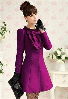 Rose Purple Wool Trench Coat/Dress... the color is beautiful, without the ruffles and the bow it would be perfect.