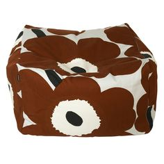 The Unikko pattern in light grey, brown and dark blue decorates the Puffi seat cushion made of heavyweight upholstery cotton with a removable and washable cover. The cushion is filled with small Styrofoam pearls and it measures 35 cm high and 55 x 55 cm w Pouf Chair, Pouf Ottoman, Marimekko, Poppy Pattern, Dark Blue Color, Popular Bags, Color Guard, Nordic Design, Goods And Services