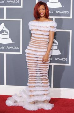 Grammy Awards Fashion Then & Now: Celebs Go From Naked to Covered Up | Then: Rihanna in Jean Paul Gaultier