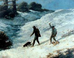 Chasseurs dans la neige, Cazadores en la nieve. Painter: Gustave Courbet.