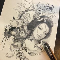Risultato immagine per Japanese Geisha Tattoo Drawings Geisha Tattoos, Geisha Tattoo Design, Geisha Drawing, Geisha Art, Japanese Tattoo Art, Japanese Tattoo Designs, Samurai Tattoo, Samurai Art, Tattoo Sketches