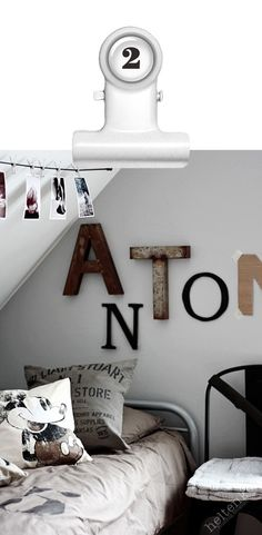 for a boy room, i like the idea of using ruggid (sp?) and mismatchy letters on the wall.