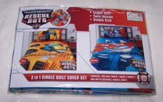 Transformers Rescue Bots Reversible Single Bed Quilt Cover Set New