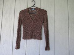 Bisou Bisou Brown Lace Sheer Top / Button Up by BlackMountainMoon, $15.00