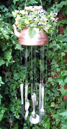 Use a tea pot to make a wind chime.