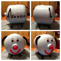 Home made 'piggy' bank, made out of a 5 gallon propane tank. Made by my husband.