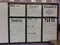 My Spanish classroom-homework board. so perfect to post the standards for kids to see I'd prefer to see more spanish included in this board but I love the use of the dry erase board Dual Language Classroom, Bilingual Classroom, School Classroom, Classroom Ideas, Classroom Board, Classroom Agenda, Classroom Layout, Classroom Inspiration, Spanish Lesson Plans