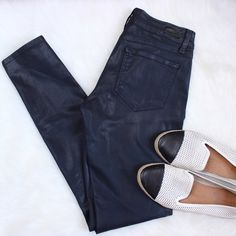 Paige Jeans • Verdugo Blue Coated Jeans Paige blue verdugo silk coated skinny jeans. Super soft and comfortable! Wish they fit me better.   ❌No trades ❌No PayPal ❌No asking for the lowest price Paige Jeans Jeans