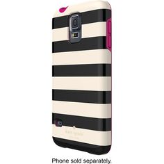 Best Buy - kate spade new york - Candy Stripe Hybrid Hard Shell Case for Samsung Galaxy S 5 Cell Phones - Cream/Black - $40