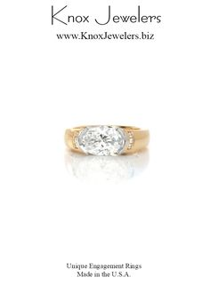 This custom ring can be used as an engagement ring or wedding band.  It is uniquely designed to hold a 1.50 carat oval cut diamond horizontally in a platinum half-bezel setting. The high polished 14K yellow gold band features vertical channel set diamonds. A stunning two-tone look is finished with perfectly placed platinum hand wrought filigree. Contemporary Engagement Rings, Thing 1, Gold Bands, Unique Rings, Filigree, Wedding Bands, Channel, Diamonds, Jewels