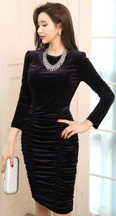 StyleOnme_Velvet Ruched Long Sleeve Dress #feminine #velvet #dress #partylook #koreanfashion #kstyle #kfashion #seoul #wintertrend