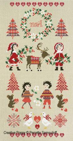 Perrette Samouiloff - Bannière Noël Nordique (grille de broderie au point de croix)