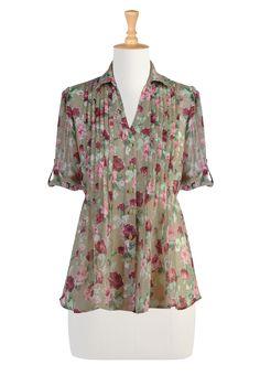 #eShakti, Shirts, Pretty Blouses, Spring, Summer Tops, Printed Shirts, Floral Print Shirt, Multi color print, Beige Shirt, Victorial Top, Shirts with Ribbon Ties, Chiffon Shirt, Georgette Tops