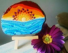 Large Painted Rock Beach Stone Hand Painted by P4MirandaPitrone