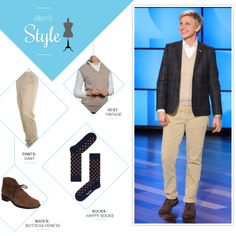 Ellen's Look of the Day: plaid blazer, vest, khakis and boots. Makeup by Heather Currie @hcurriebeauty