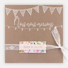 Faire part mariage champetre chic Pochette 3 cartons/camel & fanions avec dentelle