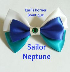 Anime Inspired Bow  Sailor Neptune by KarisKornerBowtique on Etsy