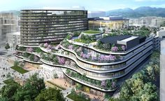Hotel Trusty Premier Kumamoto open in september 2019 - The Concept of the Eco-city Green Architecture, Futuristic Architecture, Sustainable Architecture, Public Architecture, Terraced Landscaping, Eco City, Tower Building, Futuristic City, High Rise Building