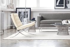 Explore the authentic Barcelona Chair from Knoll by Ludwig Mies van der Rohe. This midcentury classic is the epitome of modern furniture design. Ottoman In Living Room, Eclectic Living Room, Chair And Ottoman, Living Room Designs, Value City Furniture, Furniture Styles, Furniture Design, Eames Style Lounge Chair, Modern Dining Chairs