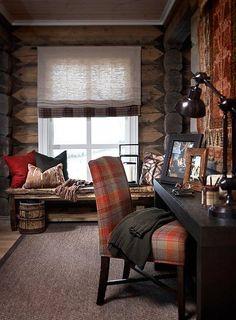 Stockholm Vitt - Interior Design: Chic Ski Lodge Cabin look Ski Lodge Decor, Mountain Cabin Decor, Cabin Chic, Cozy Cabin, Lodge Style, Chalet Style, Cabins And Cottages, Barndominium, Interior Design