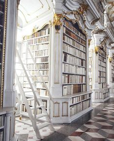 01 in 22 Stunning Images -Around the World by Vol. 01 in 22 Stunning Images - Admont Abbey Library, Austria - The Most Beautiful Library in the World 50 hottest farmhouse decor ideas for house 30 Beautiful Library, Dream Library, Library Room, The Library, Library Bookshelves, Bookshelf Design, Bookcases, Future House, My House