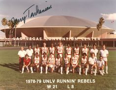 Photograph taken of the 1978-79 UNLV Runnin' Rebels basketball team with their coach, Jerry Tarkanian.  Behind the team is the Las Vegas Convention Center.  Image is part of the UNLV Libraries photo digital collection.